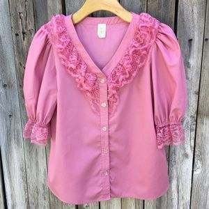Malco Modes Vintage Puff Sleeve Peasant Top Pink S